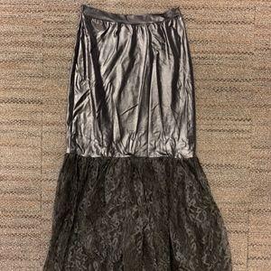 Vintage Ian's goth-punk black stretch lace skirt